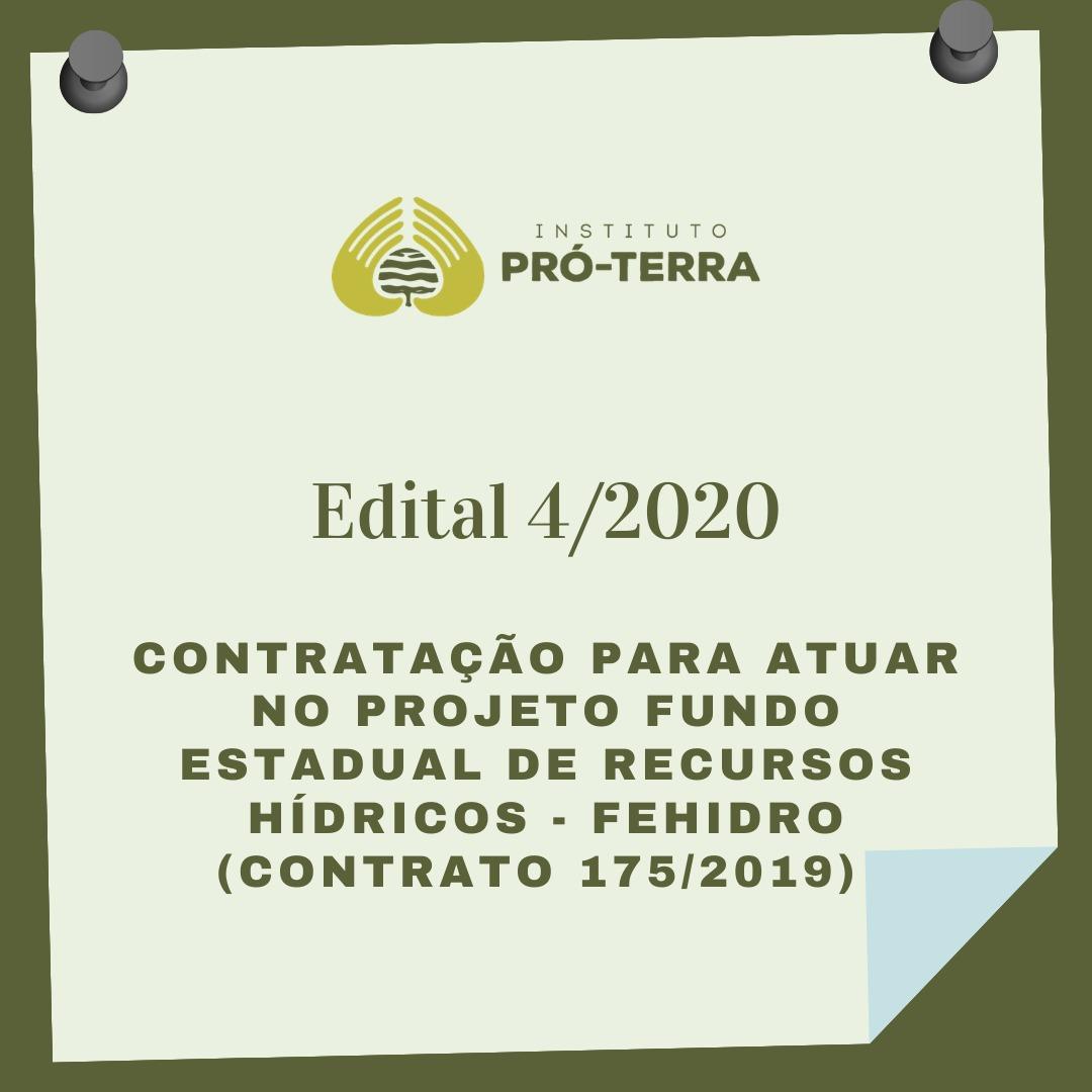 Edital 4/2020    PRORROGADO ATÉ 22 DE JANEIRO DE 2021